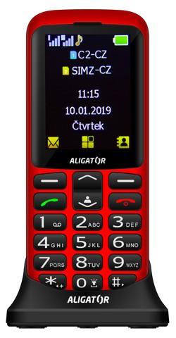 Tlačidlový telefón pre seniorov Aligator A700, červená