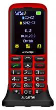 Tlačidlový telefón pre seniorov Aligator A700, červená POUŽITÉ, N