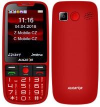 Tlačidlový telefón pre seniorov Aligator A890, červená POUŽITÉ, N