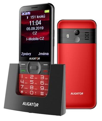Tlačidlový telefón pre seniorov Aligator A900, červená ROZBALENÉ