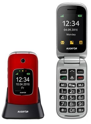 Tlačidlový telefón pre seniorov Aligator V650, červená POUŽITÉ, N