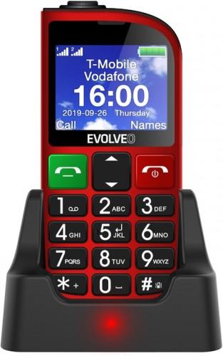 Tlačidlový telefón pre seniorov Evolveo EasyPhone FM, červená