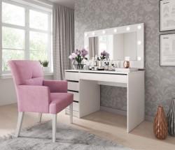 Toaletný stolík a zrkadlo Elke (biela)
