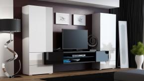 Torii - Obývacia stena (biela lesk, tv stol: čierna/čierna lesk)