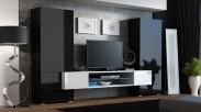 Torii - Obývacia stena (čierna lesk, tv stol: biela/biela lesk)