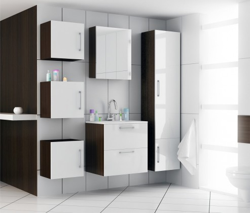 Torino - Kúpelňová zostava s umyvadlom Yrsa (biela,boky wenge)