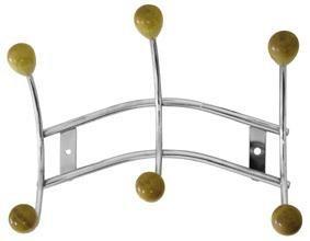 Toro - vešiak 3 háčiky (pochrómovaný kov,drevené konca háčikov)