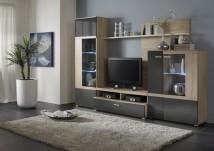 Trend - Obývacia stena (dub bardolino/grafit vysoký lesk)