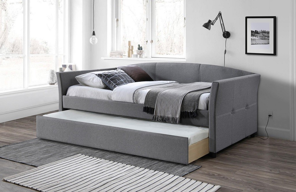 Trojsedák Čalúnená posteľ Sebastian 90x200, sivá, vr. roštu s prístelkou