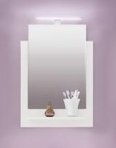 TTB - Zrkadlový panel s poličkou a osvetleniem (biela, zrkadlo)