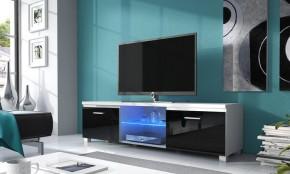 TV 2 - TV stolík (biela/čierna)