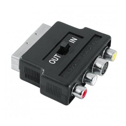 TV káble, adaptéry  SCART redukcia 122238 - 3 cinch AV + S-video zásuvka, IN/OUT