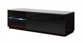TV stolík Togo - 160 cm (wenge/čierny lesk)