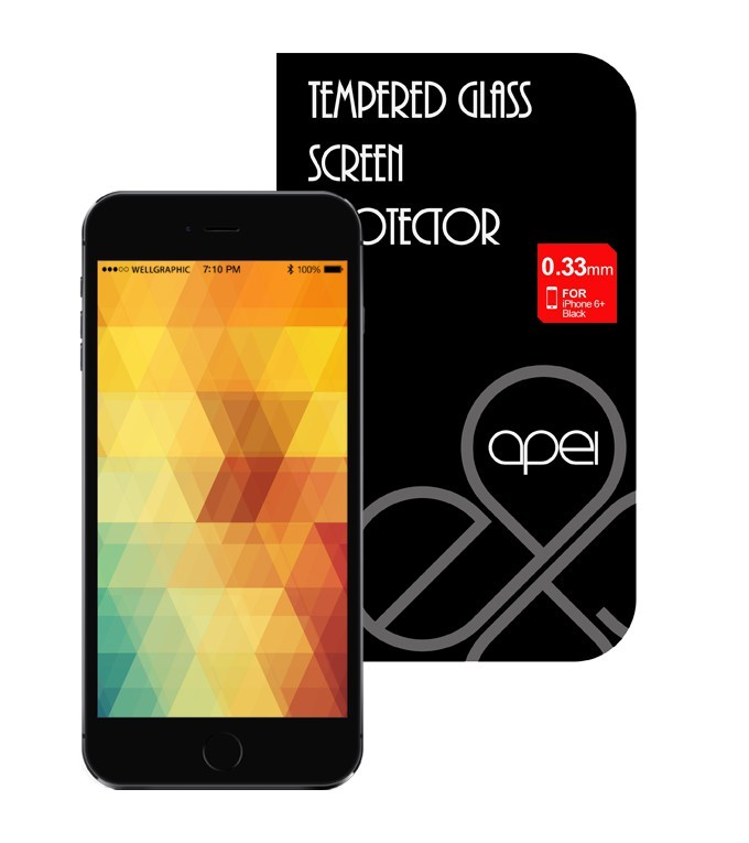 Tvrdené sklá Apei Glass Protector iPhone 6+ Black Full (12133)