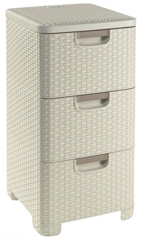 Úložný priestor Zásuvka 3x 14l ratan style - krémová