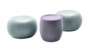 Urban Knit Set - ELGGRY, Sedací set (šedý sedák/fialový stůl)