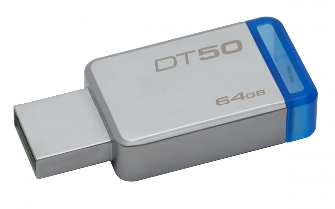 USB 3.0 flash disky Kingston USB flash disk DataTraveler 50 64GB (DT50/64GB) modrý