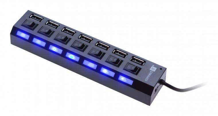 USB hub Connect IT USB hub Mighty switch, 7 ON/OFF portov