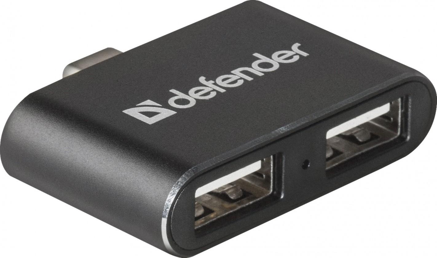 USB hub Hub Defebder Quadro Dual USB rozbočovač, USB-C/2xUSB 2.0, čierna