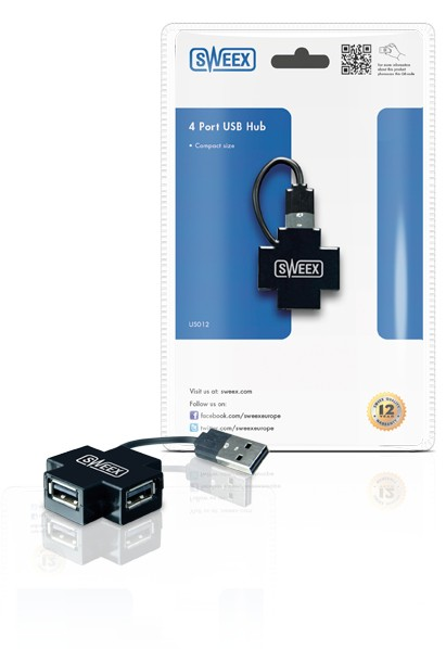 USB hub SWEEX HUB 4xUSB 2.0 pasívny Black Basics