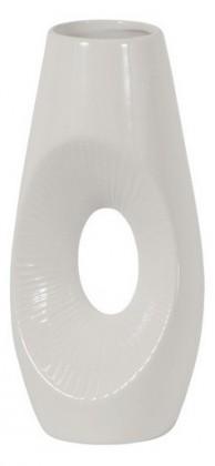 Váza keramická - 30 cm, oválna (keramika, biela)