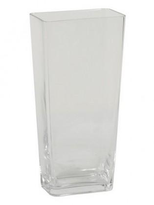 Váza sklenená - 30 cm, hranatá (sklo, číra)
