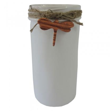Vázy Keramická váza VK39 biela s vážkou (21 cm)
