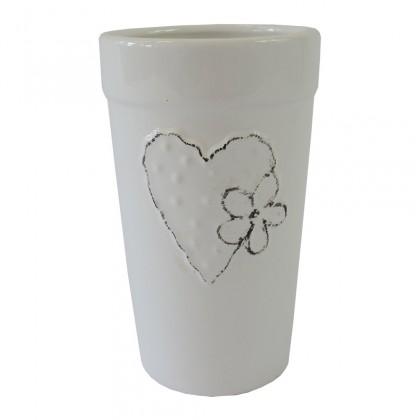 Vázy Keramická váza VK43 biela so srdiečkom a kvetinkou (18 cm)