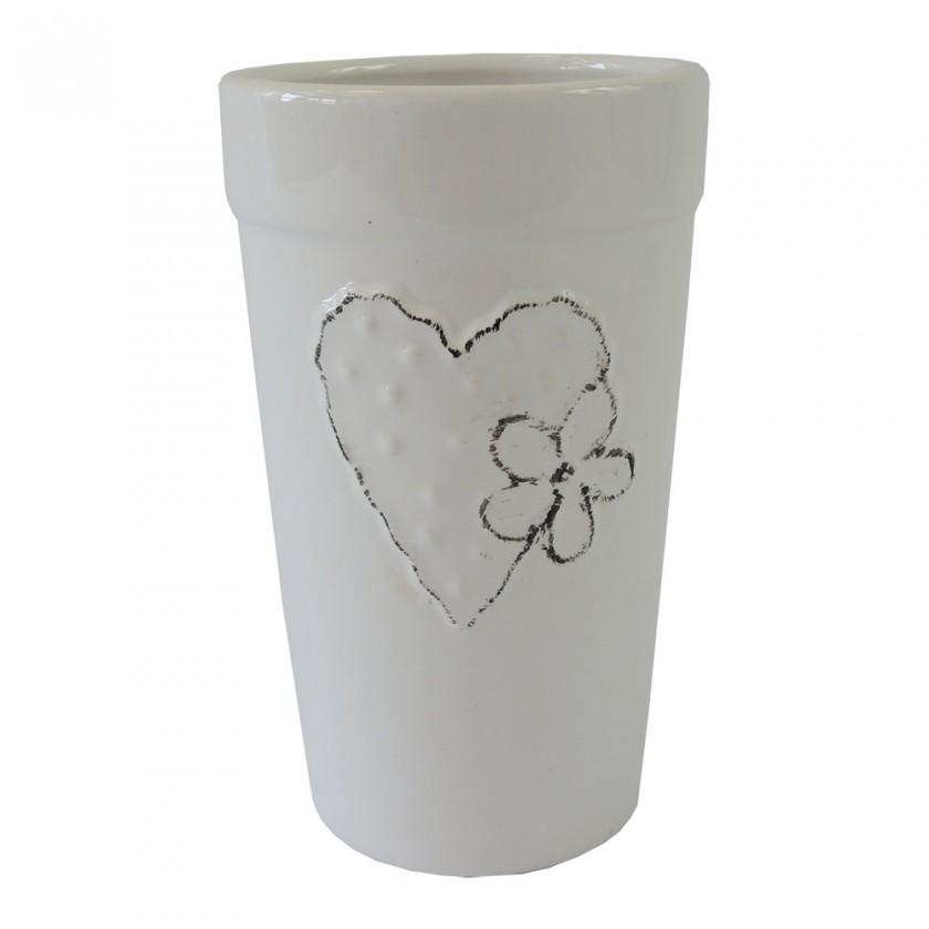 Vázy Keramická váza VK43 biela zo srdiečkom a kytičkou (18 cm)