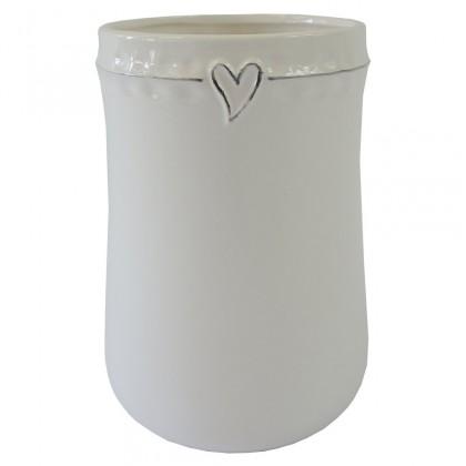 Vázy Keramická váza VK45 biela zo srdiečkom (17 cm)