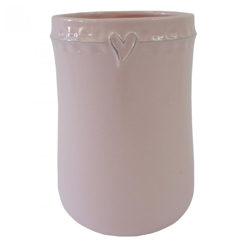 Vázy Keramická váza VK47 ružová zo srdiečkom (17 cm)