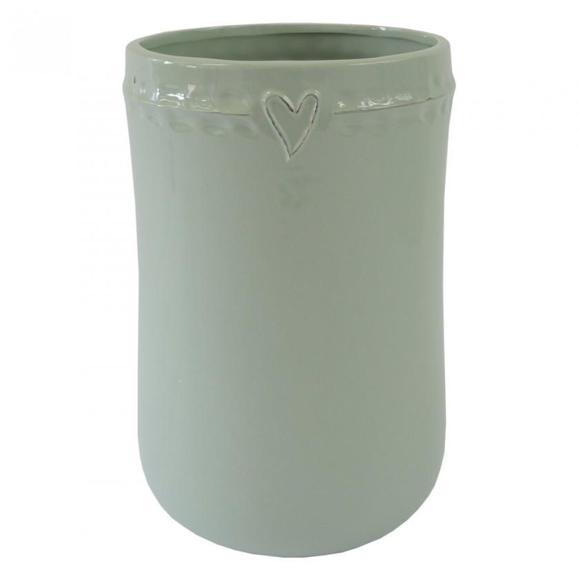 Vázy Keramická váza VK48 mätová so srdiečkom (23 cm)