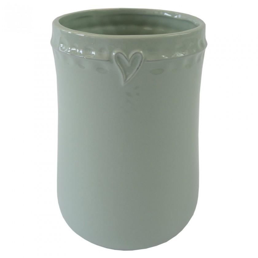 Vázy Keramická váza VK49 mätová so srdiečkom (17 cm)