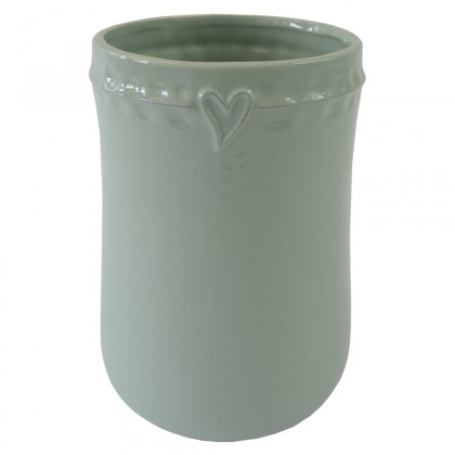 Vázy Keramická váza VK49 mätová zo srdiečkom (17 cm)