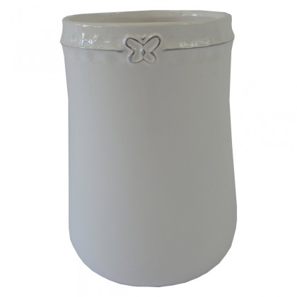 Vázy Keramická váza VK51 biela s motýlikom (17 cm)