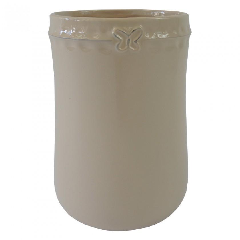 Vázy Keramická váza VK52 béžová s motýlikom (23 cm)