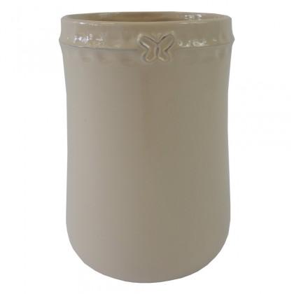 Vázy Keramická váza VK53 béžová s motýlikom (17 cm)