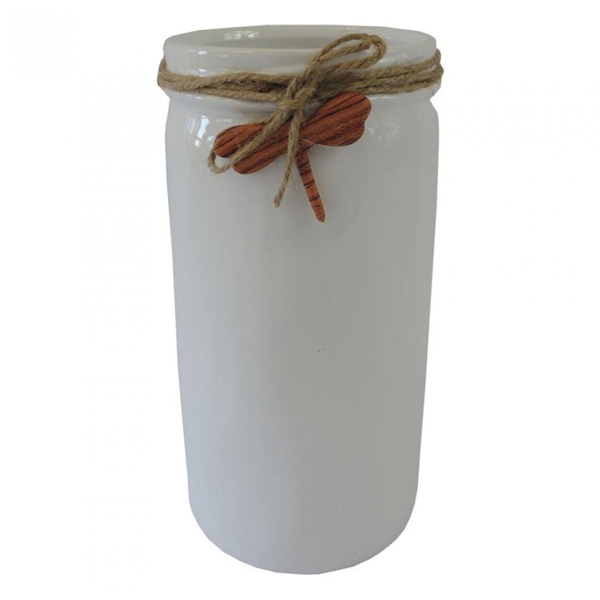 Vázy Keramická váza VK54 biela s vážkou (26 cm)
