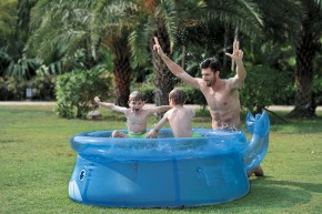 Veľryba - Detský nafukovací bazén, 175x62 cm (modrá)