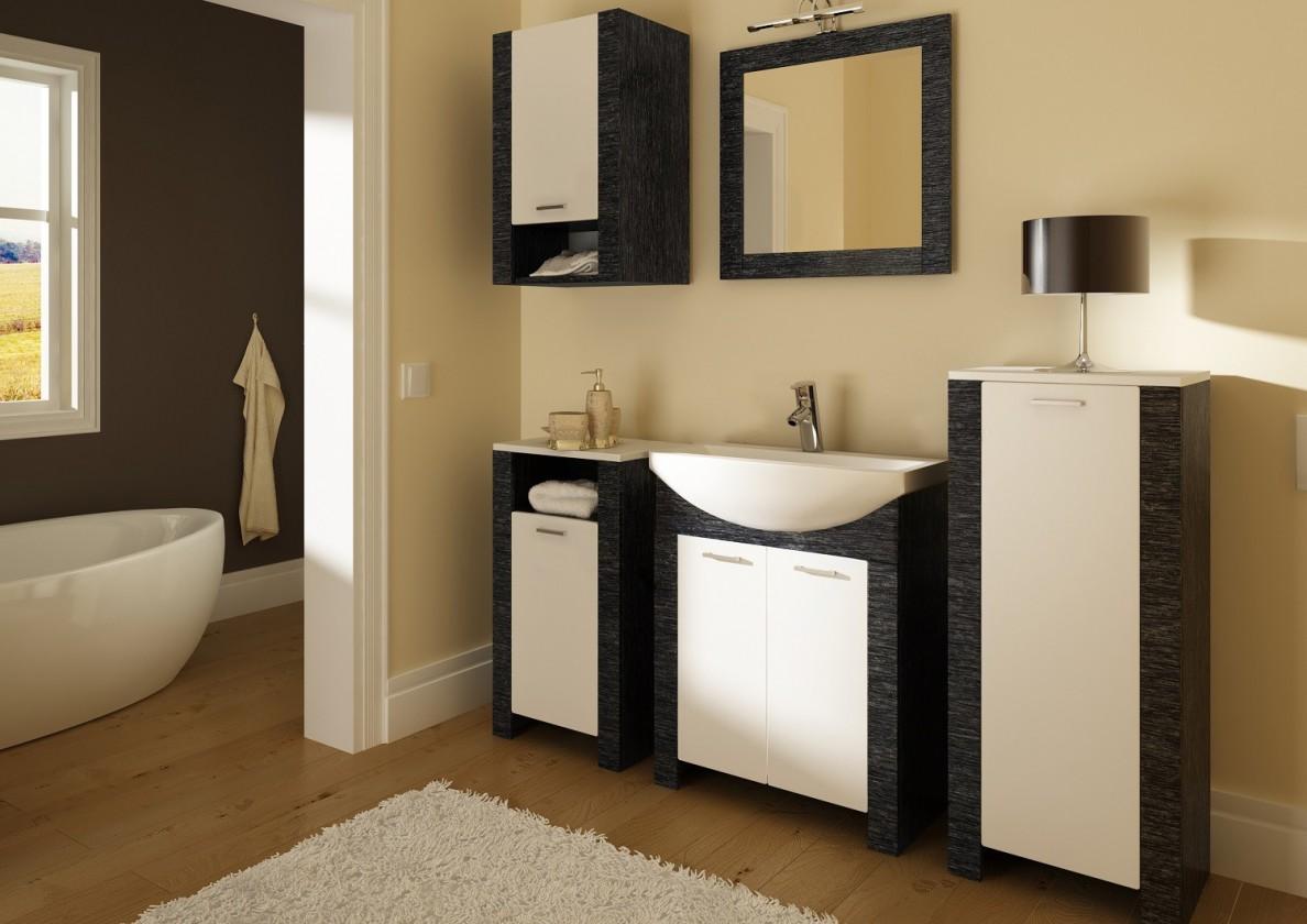 Venezia-kúpeľňová zostava (dvere biele a čierne,boky čierne)
