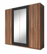 Vera - Skriňa 228x214x58 cm, klasické dvere, zrkadlo, orech