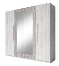 Vera - Skriňa 228x214x58 cm, klasické dvere, zrkadlo, pínie
