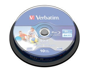 Verbatim BD-R LTH 25GB printable, 10ks cakebox (43751)