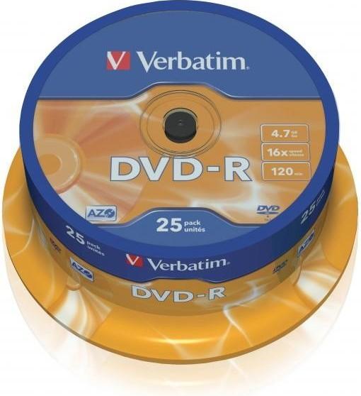 Verbatim DVD-R 16x, 25ks cakebox (43522)