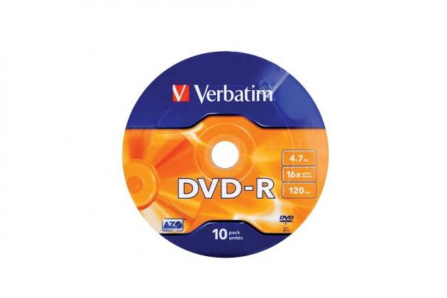 Verbatim DVD-R 4,7GB 16x, 10ks. (43729)