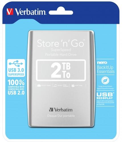 Verbatim HDD 2TB USB 3.0 strieborný POUŽITÉ, NEOPOTREBOVANÝ TOVAR