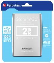 Verbatim HDD 2TB USB 3.0 strieborný + ZADARMO USB-C Hub Olpran v hodnote 19,9 EUR