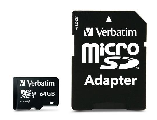 VERBATIM Pro microSDXC 64GB UHS-I V30 U3 + SD adaptér