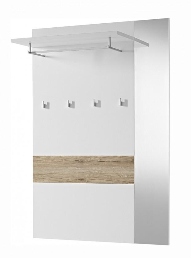 Vešiak GW-Alameda - Vešiakový panel široký,zrkadlo (biela/dub sanremo)