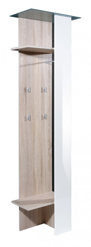 Vešiak GW-Eva - vešiakový panel, 2x polička, 4xháčik (dub sonoma/biela)